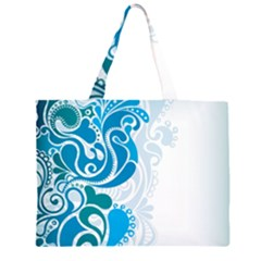 Garphic Leaf Flower Blue Large Tote Bag
