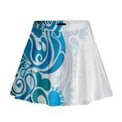 Garphic Leaf Flower Blue Mini Flare Skirt