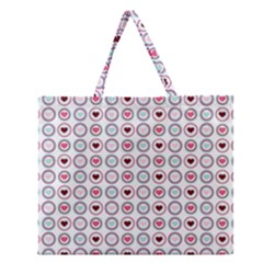 Circle Love Heart Purple Pink Blue Zipper Large Tote Bag