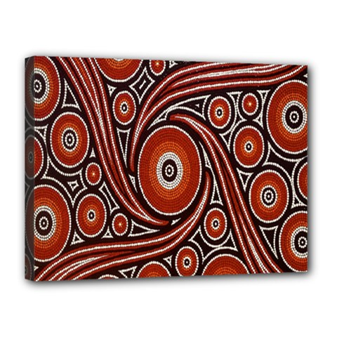Circle Flower Art Aboriginal Brown Canvas 16  x 12