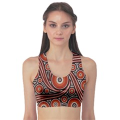 Circle Flower Art Aboriginal Brown Sports Bra