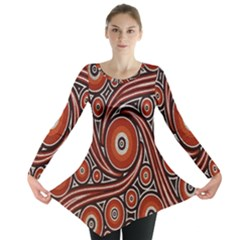 Circle Flower Art Aboriginal Brown Long Sleeve Tunic