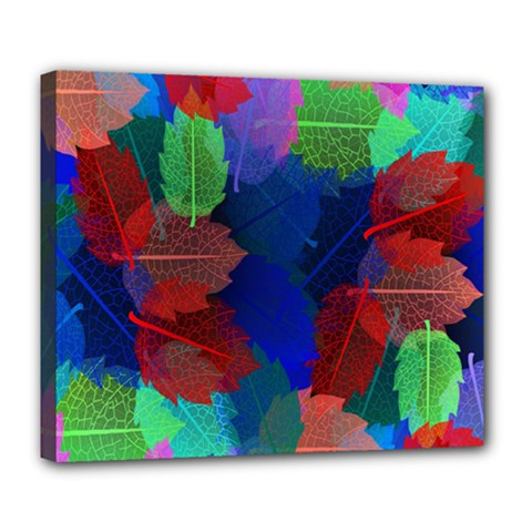 Floral Flower Rainbow Color Deluxe Canvas 24  x 20