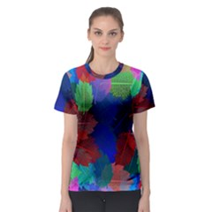 Floral Flower Rainbow Color Women s Sport Mesh Tee