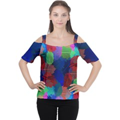 Floral Flower Rainbow Color Women s Cutout Shoulder Tee