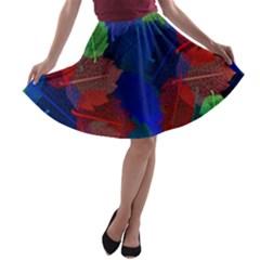 Floral Flower Rainbow Color A-line Skater Skirt