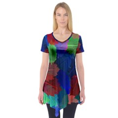 Floral Flower Rainbow Color Short Sleeve Tunic