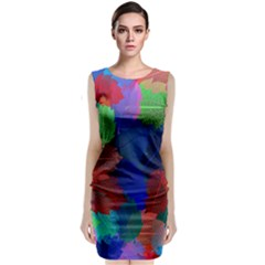 Floral Flower Rainbow Color Classic Sleeveless Midi Dress