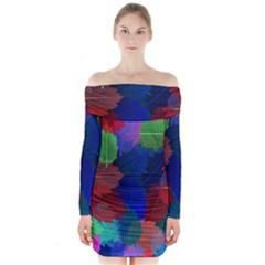 Floral Flower Rainbow Color Long Sleeve Off Shoulder Dress