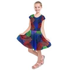 Floral Flower Rainbow Color Kids  Short Sleeve Dress