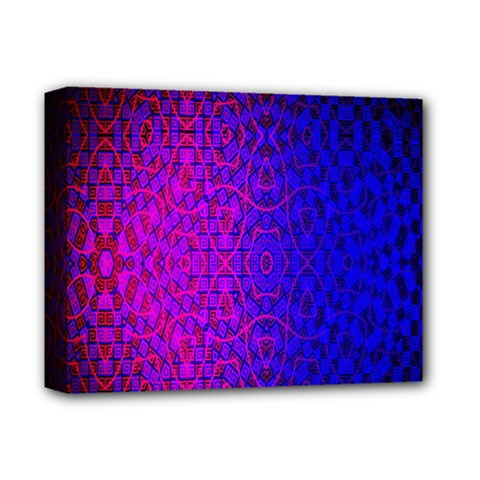 Geometri Purple Pink Blue Shape Pattern Flower Deluxe Canvas 14  x 11
