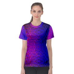 Geometri Purple Pink Blue Shape Pattern Flower Women s Sport Mesh Tee