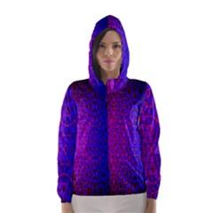 Geometri Purple Pink Blue Shape Pattern Flower Hooded Wind Breaker (Women)