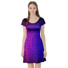 Geometri Purple Pink Blue Shape Pattern Flower Short Sleeve Skater Dress