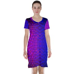 Geometri Purple Pink Blue Shape Pattern Flower Short Sleeve Nightdress