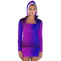 Geometri Purple Pink Blue Shape Pattern Flower Women s Long Sleeve Hooded T-shirt