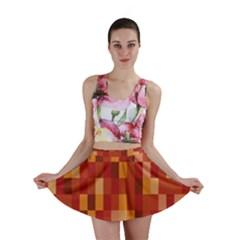 Canvas Decimal Triangular Box Plaid Pink Mini Skirt