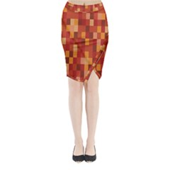 Canvas Decimal Triangular Box Plaid Pink Midi Wrap Pencil Skirt