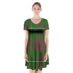 Cardney Tartan Fabric Colour Green Short Sleeve V-neck Flare Dress