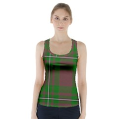 Cardney Tartan Fabric Colour Green Racer Back Sports Top