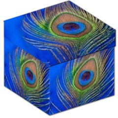 Blue Peacock Feather Storage Stool 12