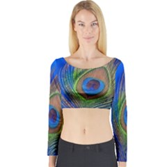 Blue Peacock Feather Long Sleeve Crop Top