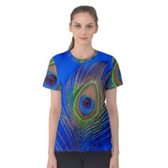 Blue Peacock Feather Women s Cotton Tee