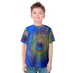 Blue Peacock Feather Kids  Cotton Tee