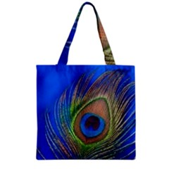 Blue Peacock Feather Grocery Tote Bag