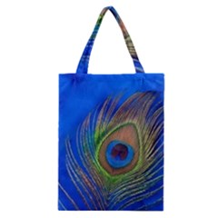 Blue Peacock Feather Classic Tote Bag
