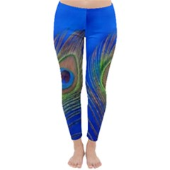 Blue Peacock Feather Classic Winter Leggings