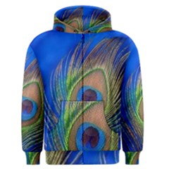 Blue Peacock Feather Men s Zipper Hoodie