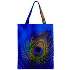 Blue Peacock Feather Zipper Classic Tote Bag