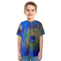 Blue Peacock Feather Kids  Sport Mesh Tee