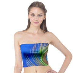 Blue Peacock Feather Tube Top