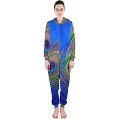 Blue Peacock Feather Hooded Jumpsuit (ladies)