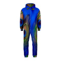 Blue Peacock Feather Hooded Jumpsuit (kids)