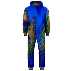 Blue Peacock Feather Hooded Jumpsuit (men)