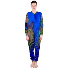 Blue Peacock Feather OnePiece Jumpsuit (Ladies)