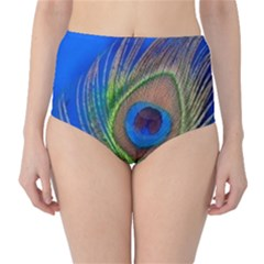Blue Peacock Feather High-Waist Bikini Bottoms