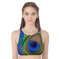 Blue Peacock Feather Tank Bikini Top