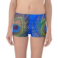 Blue Peacock Feather Reversible Bikini Bottoms