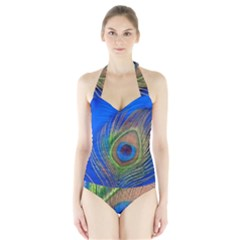 Blue Peacock Feather Halter Swimsuit