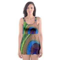 Blue Peacock Feather Skater Dress Swimsuit