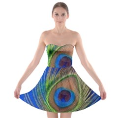 Blue Peacock Feather Strapless Bra Top Dress