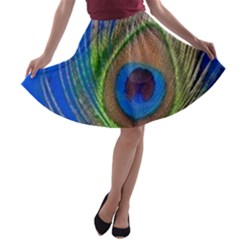 Blue Peacock Feather A-line Skater Skirt
