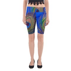 Blue Peacock Feather Yoga Cropped Leggings