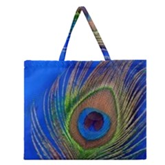 Blue Peacock Feather Zipper Large Tote Bag
