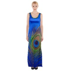 Blue Peacock Feather Maxi Thigh Split Dress
