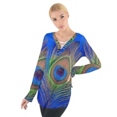 Blue Peacock Feather Women s Tie Up Tee